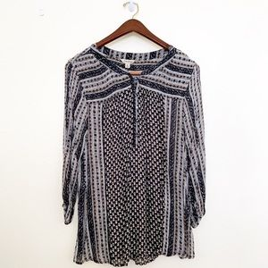 🌪Lucky Brand Boho Printed Peasant Blouse, X Large